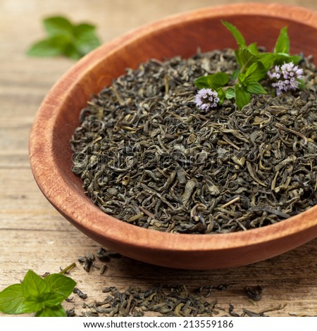 Green tea with mint. Selective focus. - stock photo