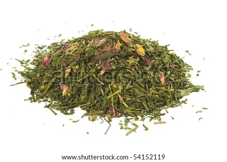 Green  tea with rose petals,  loose leaf, isolated - stock photo