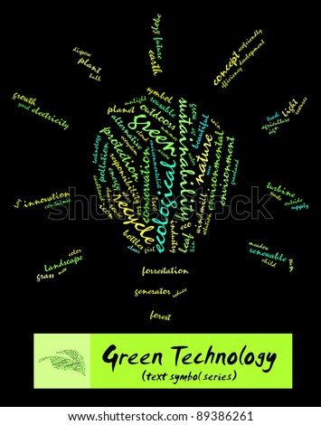 Green Technology info-text composed in the shape of bulb (word cloud/text symbol) suitable for Go Green campaign, corporate social responsibility program, advertisement and green awareness program - stock photo