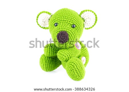 green teddy bear - stock photo