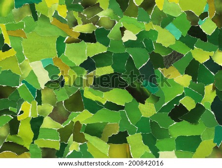 Green texture made from many pieces of torn paper  - stock photo