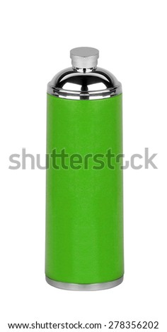 green Thermos isolated on white - stock photo