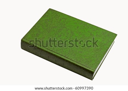 Green thick book, leather skin cover - stock photo