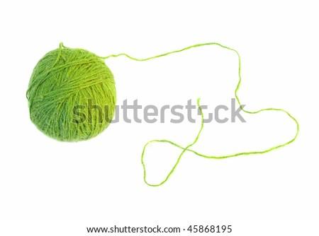 green thread ball isolated - stock photo