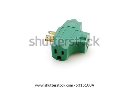 Green Threeway Electric Outlet Adapter Three Stock Photo (Royalty ...