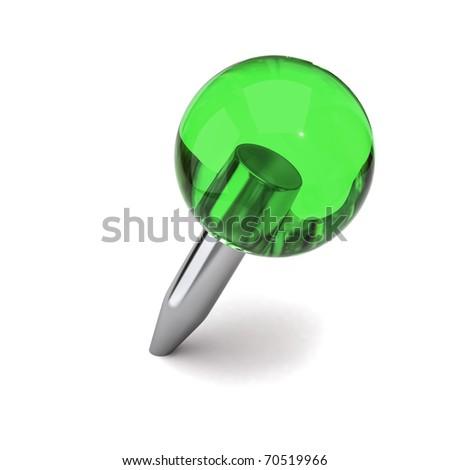 Green thumbtack - stock photo