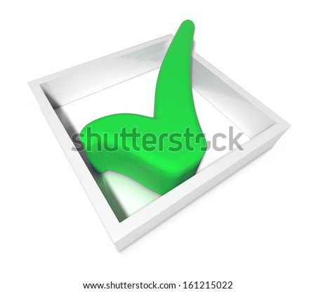 green tick in a check box isolated on a white background - stock photo