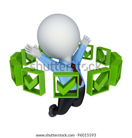 Green tick marks around 3d small person.Isolated on white background. - stock photo