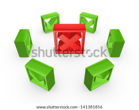 Green tick marks around red cross mark.Isolated on white.3d rendered. - stock photo