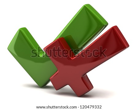 Green tick sign and red cross mark together 3d - stock photo