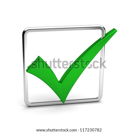 Green Tick sign / 3D render - stock photo