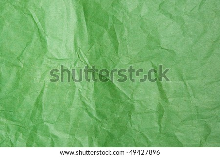 Green Tissue Paper Texture Closeup. Focus evenly across surface. - stock photo