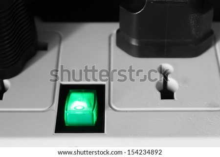 Green toggle switch - stock photo
