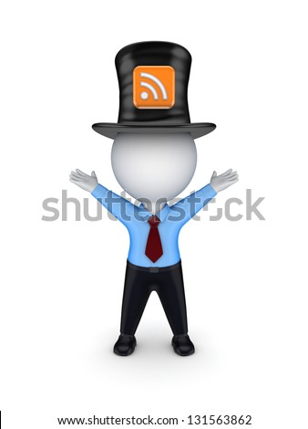 Green top-hat with symbol of RSS. Isolated on white background. - stock photo