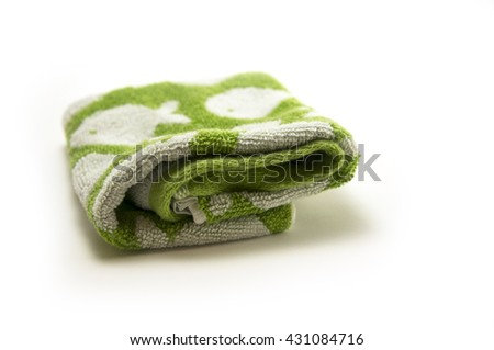 green towel isolate on white  - stock photo