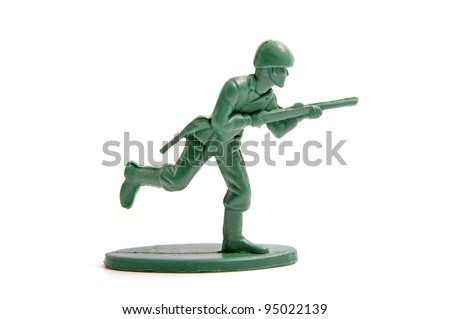green toy soldiers on white background