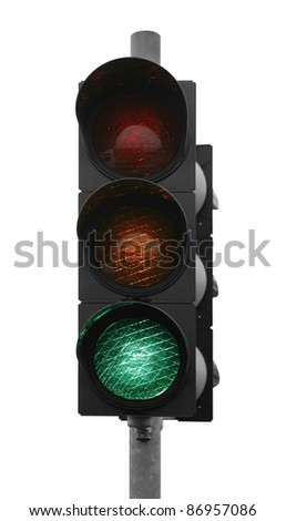 green traffic control signal isolated on white - stock photo