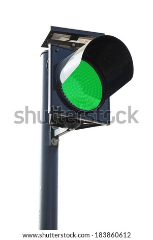 Green Traffic light sign symbol with clipping path - stock photo