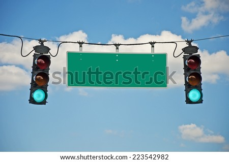 Green Traffic Lights With Blank Sign/ Horizontal Shot