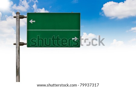 Green Traffic sign on blue sky.