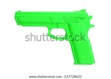 Green training gun isolated on white, law enforcement - stock photo