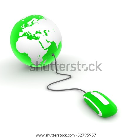green translucent computer mouse connected to a green glossy globe - stock photo