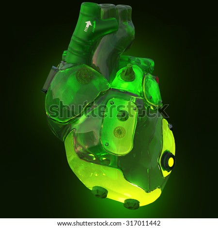 green translucent toxic acid glowing techno cyber heart, isolated on dark glowing background 3d rendering - stock photo