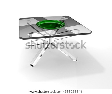 Green transparency plate on square glass table - stock photo