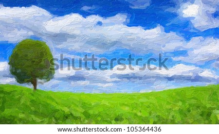 Green tree and field in sunny day. Computing realistic oil painting style. - stock photo
