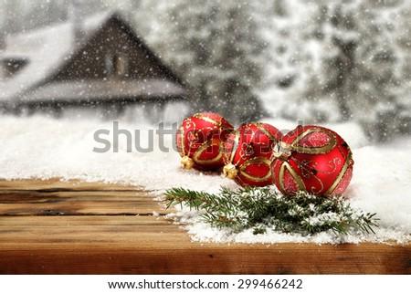 green tree and three balls  - stock photo