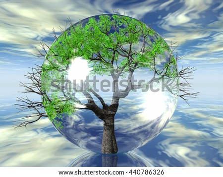 green tree in a transparent bubble 3D illustration