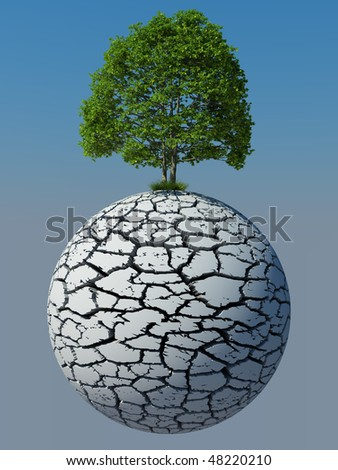 Green tree on a dry cracked planed - stock photo