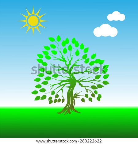 Green Tree on Blue Sky Background for Your Design - stock photo