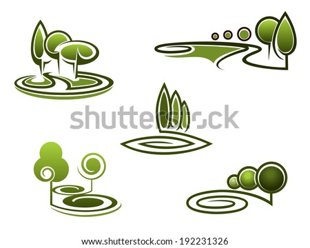 Green trees elements for landscape logo design and ornate. Vector version also available in gallery - stock photo