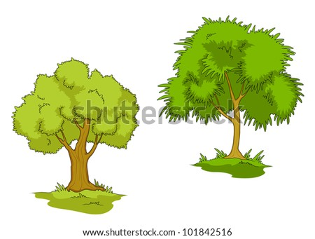 Green trees with grass isolated on white background. Vector version also available in gallery - stock photo