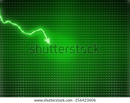 Green trend as symbol of economy drop or financial crisis. Large size - stock photo