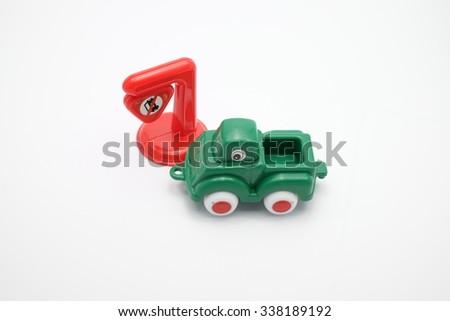 Green truck on the white background