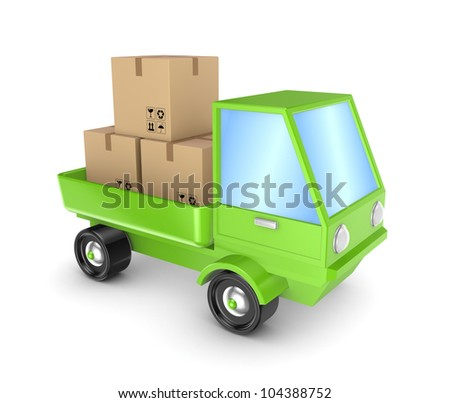 Green truck with a carton boxes.Isolated on white background.3d rendered. - stock photo