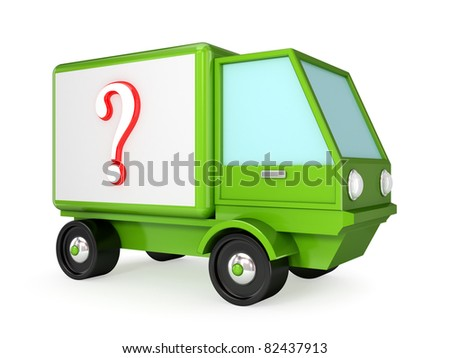 Green truck with a red query sign on a body. 3d rendered. Isolated on white background. - stock photo
