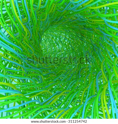 Green tunnel. 3d render abstraction. Communication