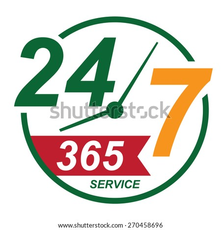 green 24 7 365, twenty four seven, round the clock service sticker, icon, label, banner, sign isolated on white  - stock photo