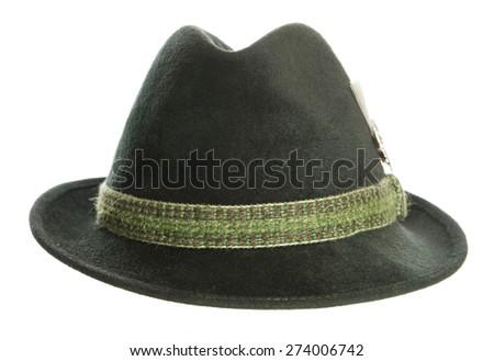 Green Tyrolean Ocktoberfest Bavarian hat cutout - stock photo