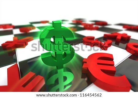 Green U.S. dollar Symbol with red international currencies on a Chess Board