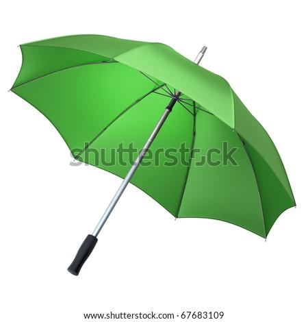 green umbrella (clipping path) - stock photo