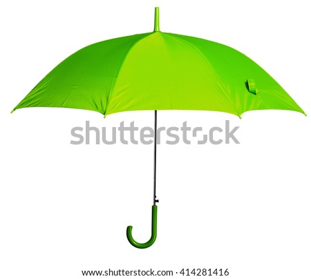 Green umbrella isolated against white background - stock photo
