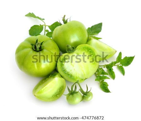 Green unripe tomatoes. Isolated on white background.