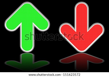 Green up and red down arrows on glossy black background. High resolution 3D image  - stock photo