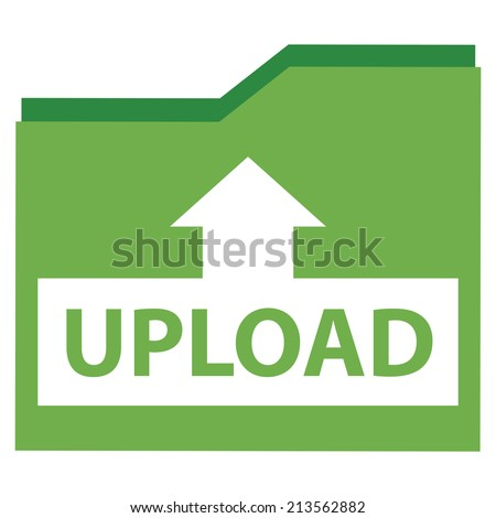 Green Upload Document Icon, Sign or Button Isolated on White Background  - stock photo