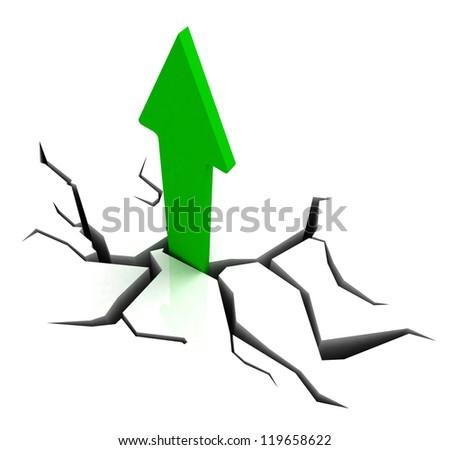 Green Upward Arrow Showing Breakthrough Profit Achievement - stock photo