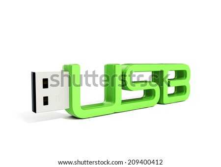 green usb flash memory made of word - usb - stock photo